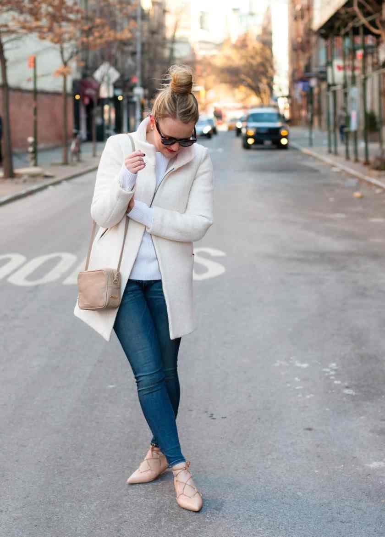White Coat + Laceup Flats
