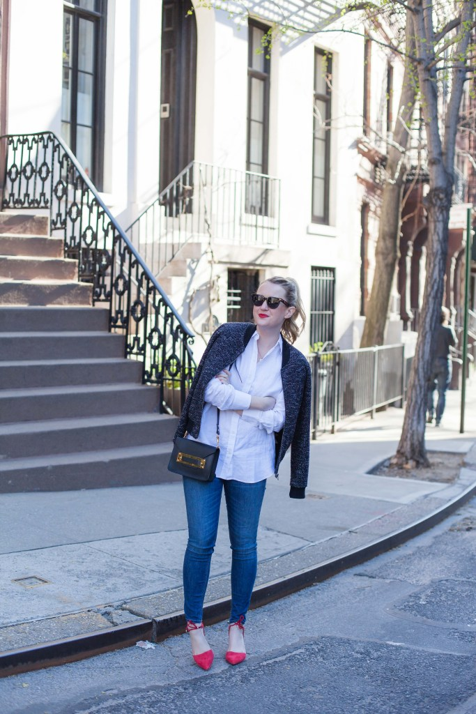 Bomber Jacket + Linen Button Down I wit & whimsy