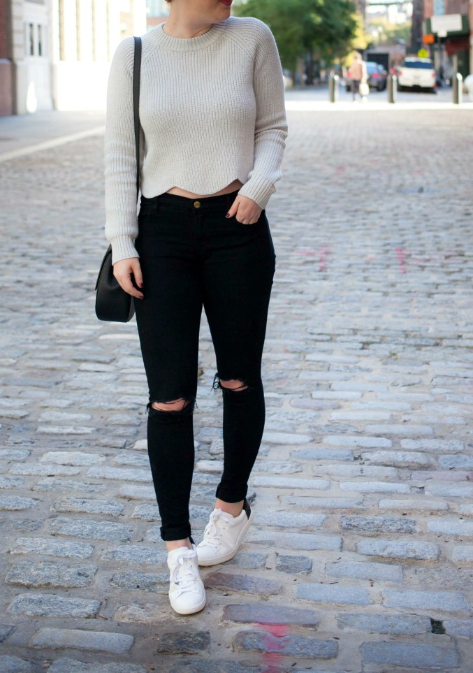 Scalloped Sweater and Distressed Denim @meghandono