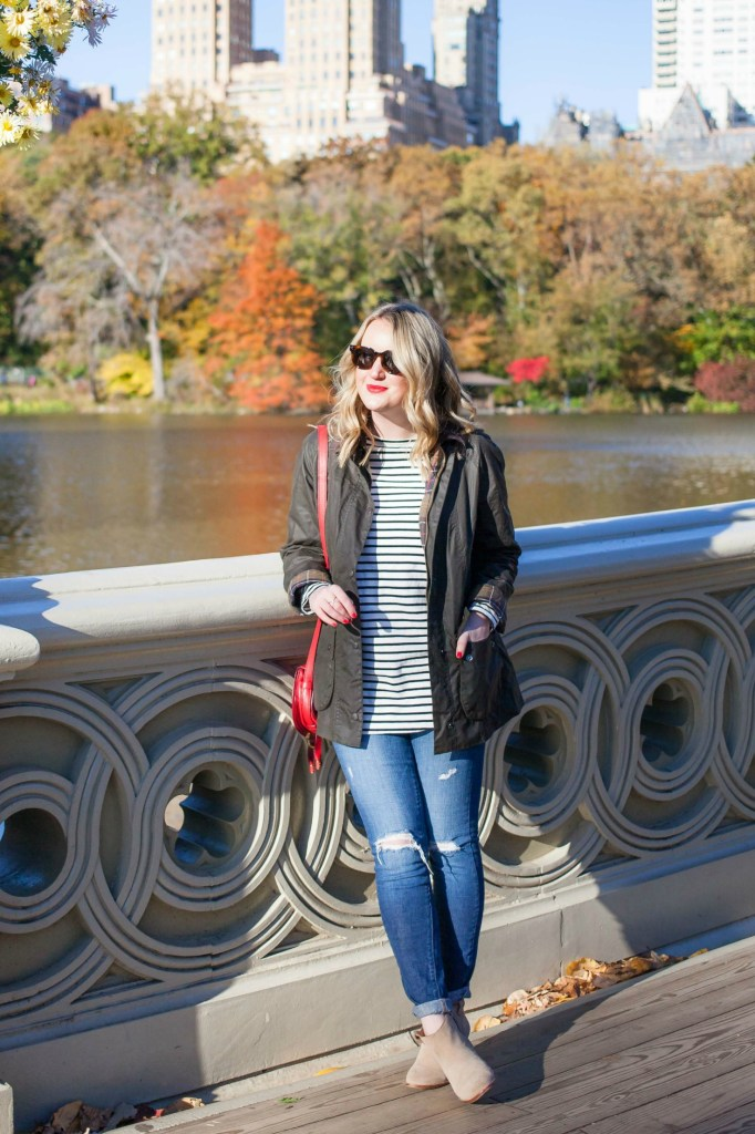 Classic Fall Barbour Jacket on Meghan Donovan of wit & whimsy