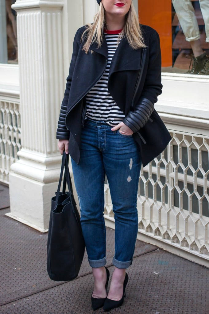 Striped Tee + Boyfriend Jeans