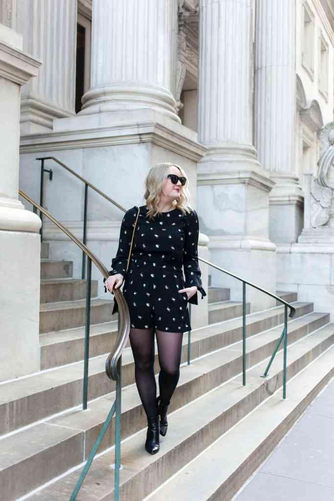 Meghan Donovan of wit & whimsy wears a Club Monaco romper