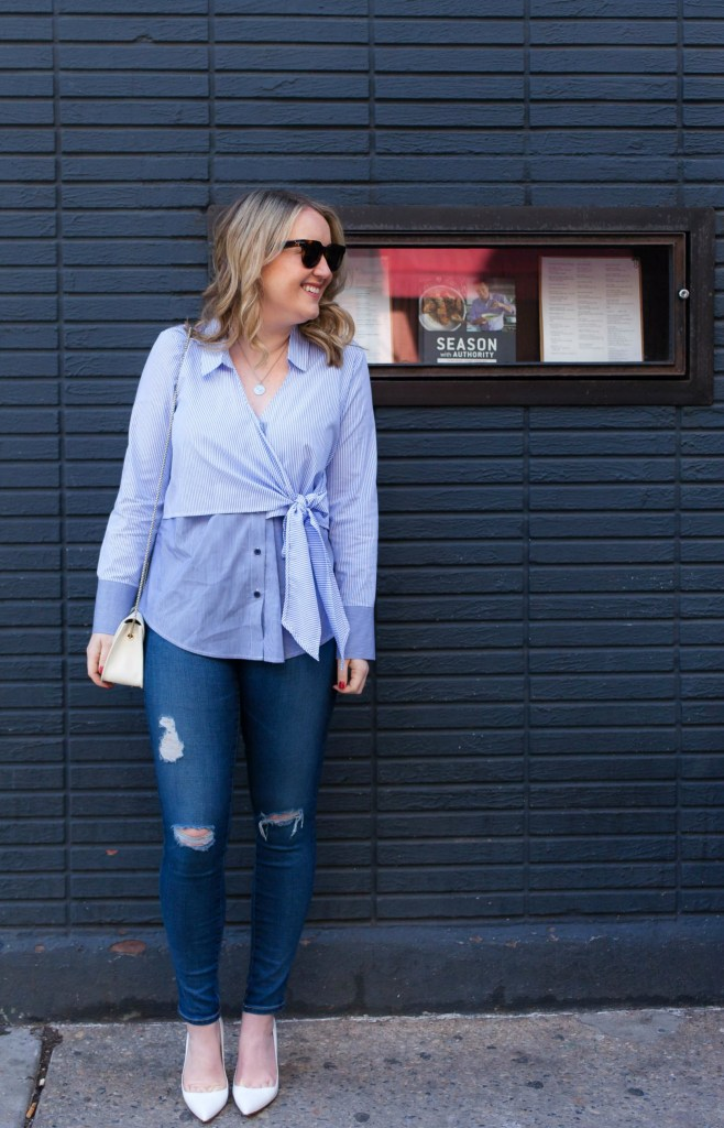 Tie Front Blouse on Meghan Donovan of wit & whimsy