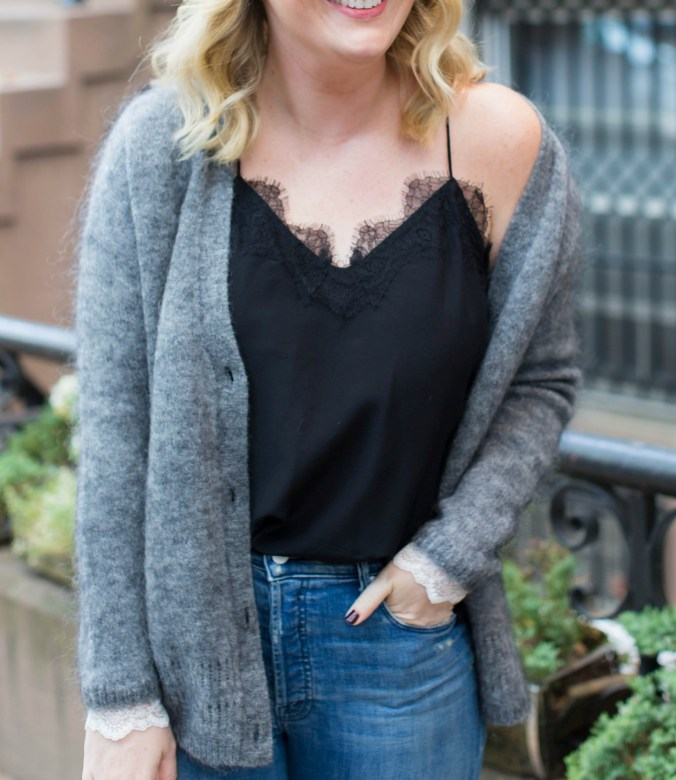 Lace Trimmed Cami with Oversized Cardigan