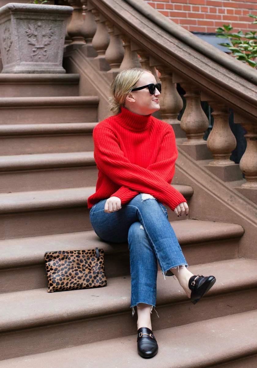 Red Sweater + Kickflare Denim