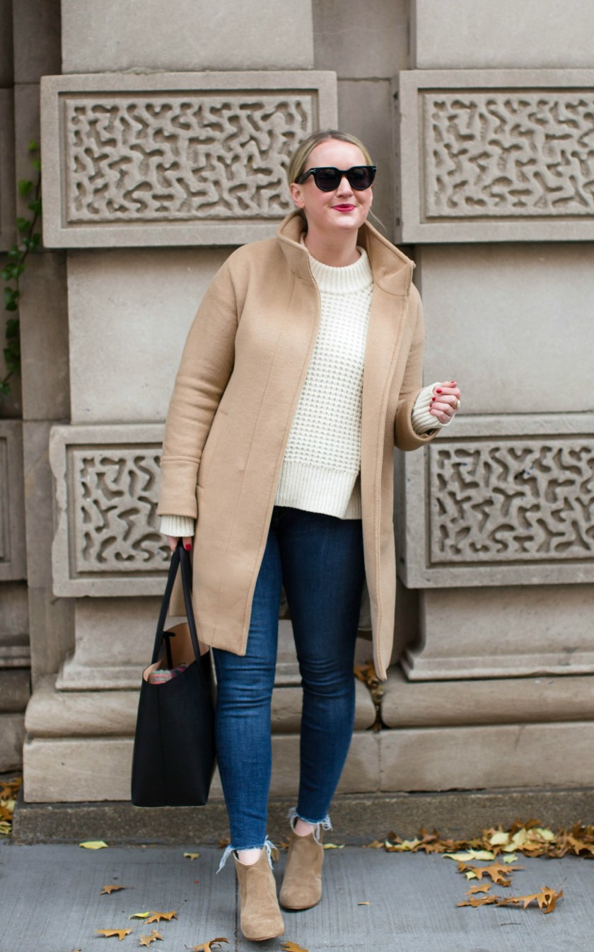 Camel Coat + Cream Sweater styled by Meghan Donovan of wit & whimsy