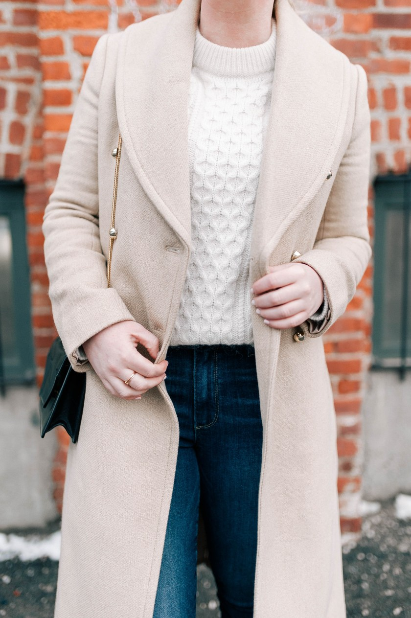 Camel Coat & Cable Knit Sweater I @meghandono