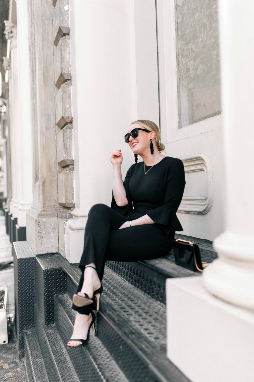 Sleek + Stylish Black Jumpsuit on wit & whimsy's Meghan Donovan