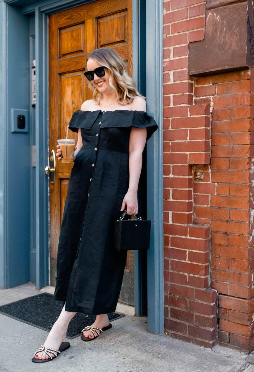 Off the shoulder linen dress on Meghan Donovan of wit & whimsy