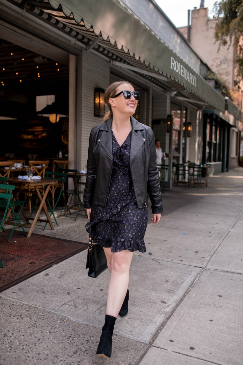 J.McLaughlin Floral Dress + Leather Jacket I wit & whimsy