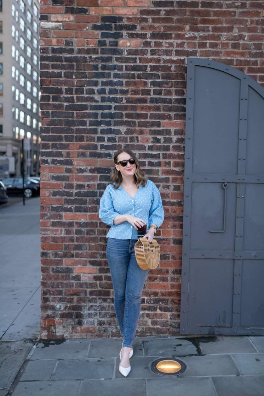 Polka Dot Peplum + Jeans I wit & whimsy