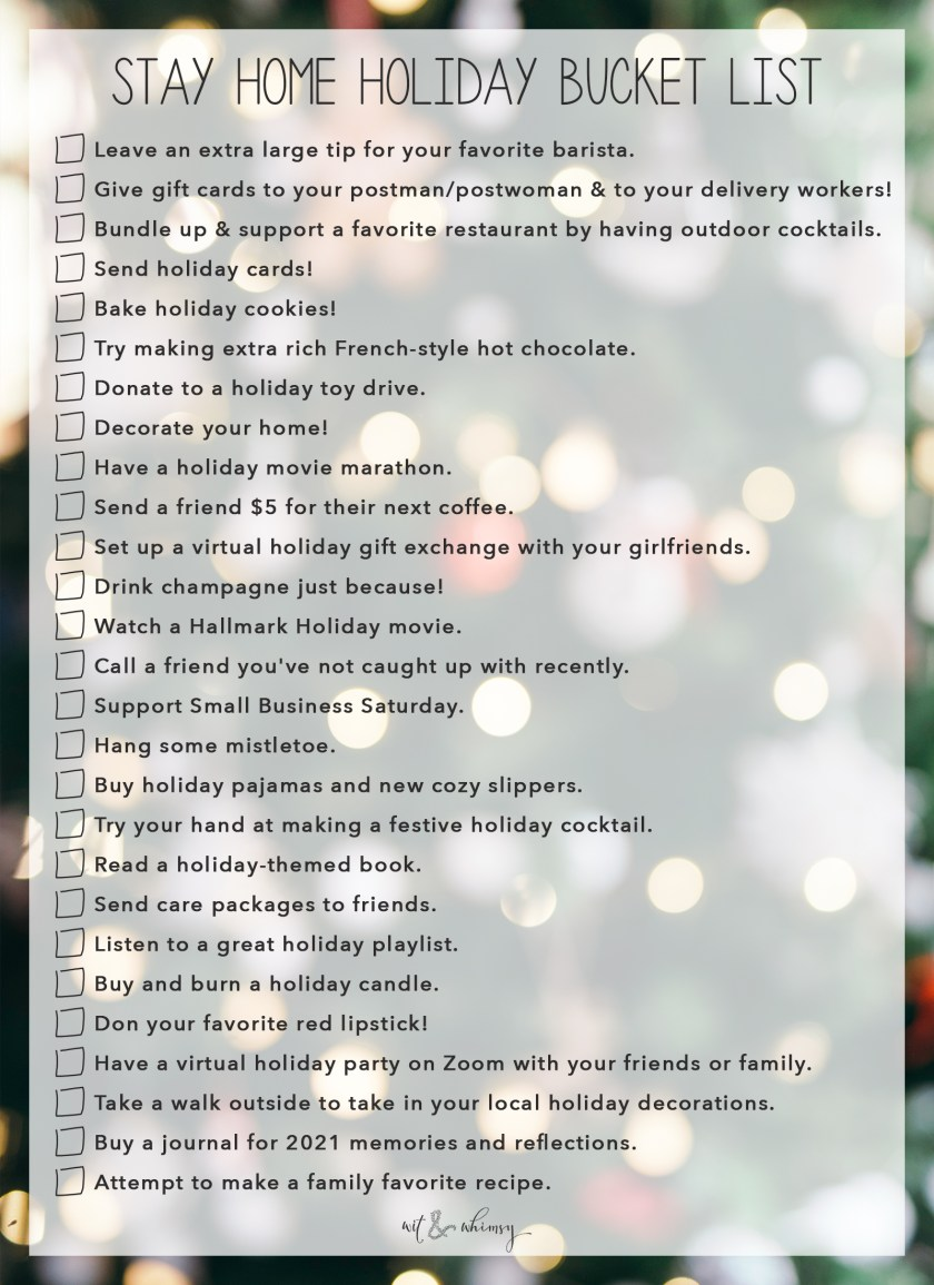 Stay Home Holiday Bucket List I wit & whimsy