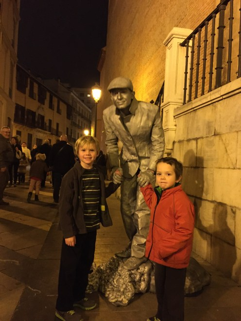 The boys were entranced by this street performer