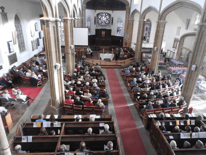 A church service showing the new extended dais, taken from the organ loft