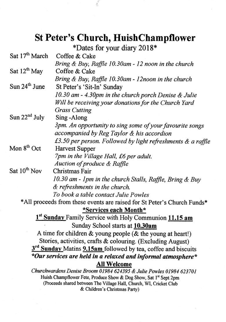 St Peter's Events 2018