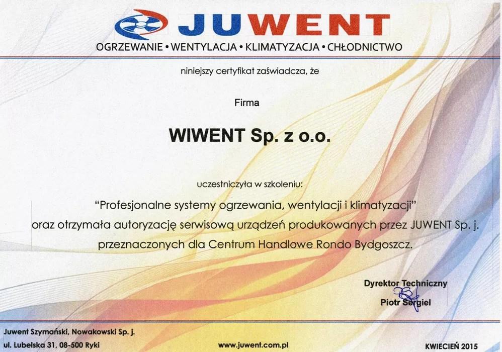 Wiwent certyfikat - Juwent