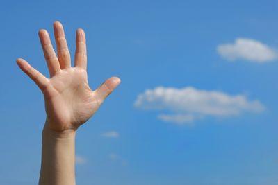 手を挙げた