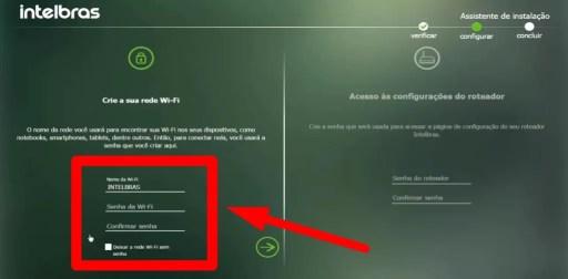 Imagem mostra opções de criação de nome e senha do wifi