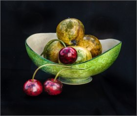 Dennis Hales Sycamore fruits holly stems & bowl
