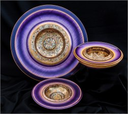 Dennis Hales Wall plates & bowl figured sycamore pigments & variegated gilt