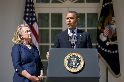 Hillary Clinton and Barack Obama at the WH Service for Americans Killed in Benghazi