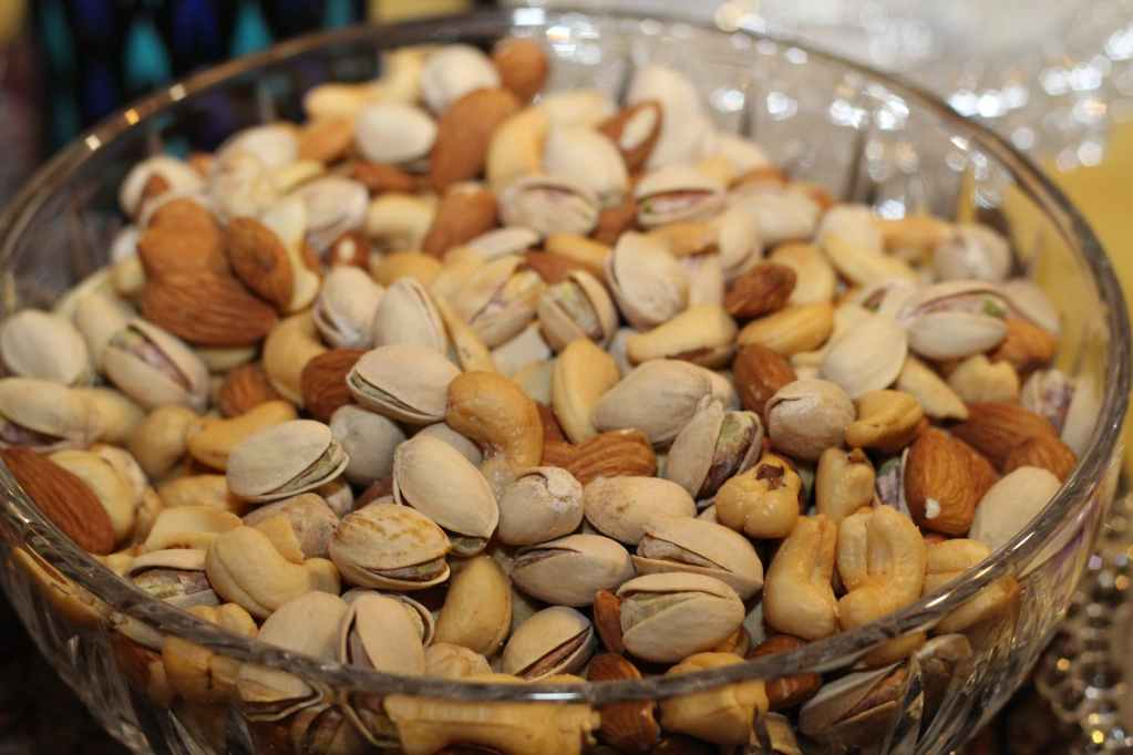 Combination of different types of nuts like walnuts, almonds and peanuts