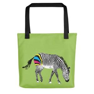 CMYK Zebra Print Tote Bag