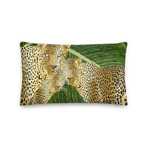 Leopards on Green Leaves Cushion
