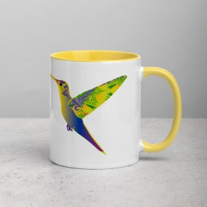 Mug White/Yellow Humming Birds
