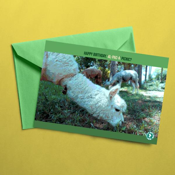 alpaca picnic birthday AR Card