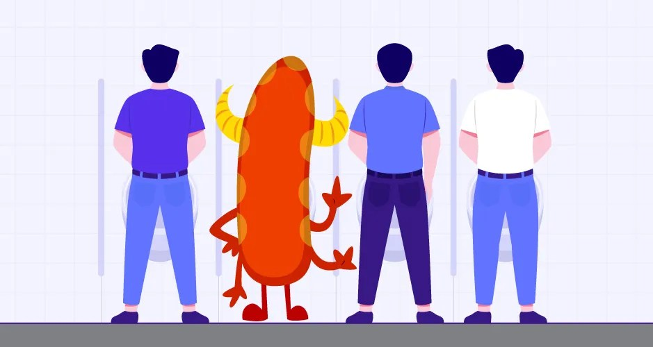 3 men and a monster using public restroom urinals