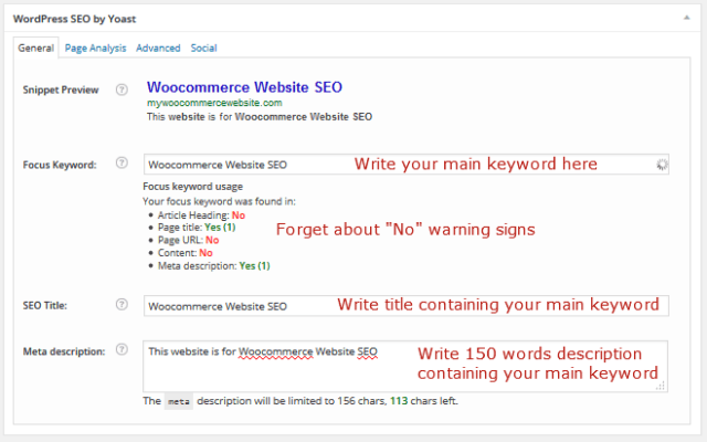 Woocommerce Home Page SEO Configuration