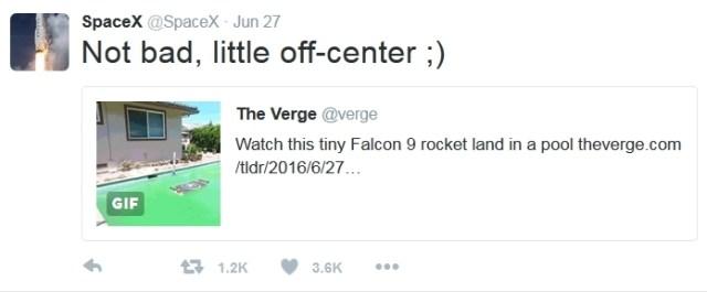 SpaceX Fan Guy Replicate Falcon 9 Landing in a Swimming Pool tweet