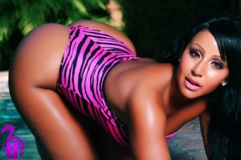 Mia-Bunny-on-all-fours-showing-off-her-sexy-curves-in-a-pink-and-black-swimsuit-in-her-shoot-for-MJ-Flix