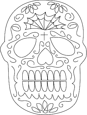 sugar skull mask Colouring Pages