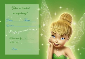 tinker bell birthday party invitations