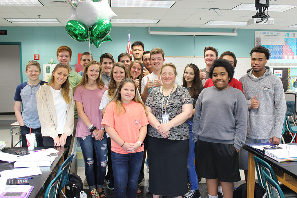 High School Teacher of the Year with students