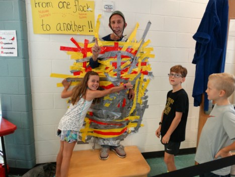 Matoaka Elementary principal duct taped to the wall for fundraiser supporting texas