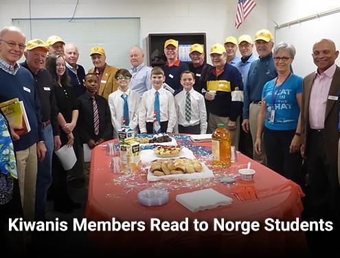 Kiwanis Members Read to Norge Students