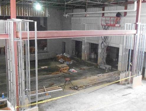 Interior framing and gypsum board in the auditeria