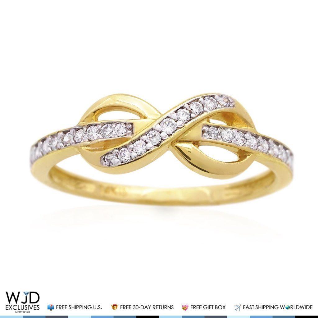 14K Yellow Gold 0.40Ct Diamond Infinity Friendship Love