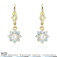14K Solid Yellow Gold Diamond And Aquamarine Flower Dangle