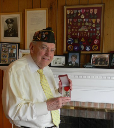 Ed Burke with his Croix De Guerre, the French Medal of Honor.