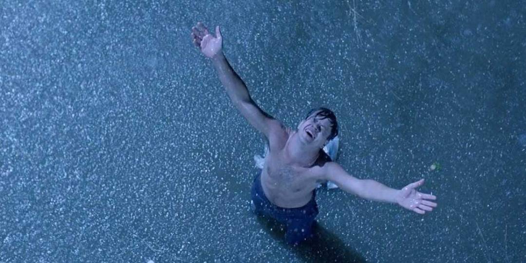 Andy Dufresne, Arms outstretched, standing in the rain