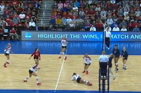 Wisconsin setter Lauren Carlini injures her ankle in the first set of the NCAA quarterfinals match against Penn State.