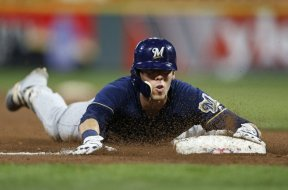 Brewers Christian Yelich slides AP