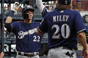 Brewers Christian Yelich w Miley AP