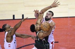 Giannis blocked Kawhi Gasol AP