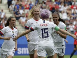 USA Women's Soccer win celebrate AP
