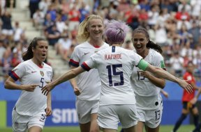 USA Women's Soccer win celebrate AP